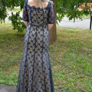 Rochie extrem de eleganta, din dantela bleumarin-crem