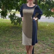 Rochie fashion de culoare bleumarin combinata cu insertii aurii