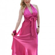Rochie fashion de seara, din saten lucios de nuanta roz intens
