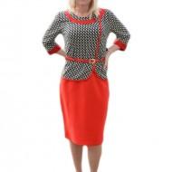 Rochie feminina cu croi deosebit, elegant, culoare rosu-negru-alb
