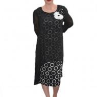 Rochie feminina, de culoare negru-alb vaporoasa
