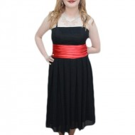 Rochie in nuanta de negru-rosu, design interesant modern