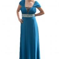 Rochie inedita, eleganta, lunga, cu design din pietre, pe albastru