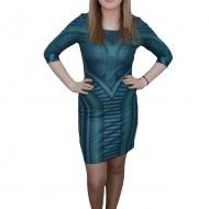 Rochie la moda si mulata, nuanta de turcoaz, design interesant