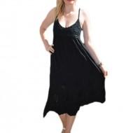 Rochie lejera de vara cu bretele subtiri reglabile, neagra