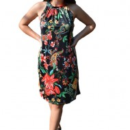 Rochie lejera Grace cu imprimeu sea-flower pe fond negru