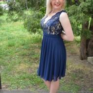Rochie lejera, voal si dantela, nuanta bleumarin, model scurt