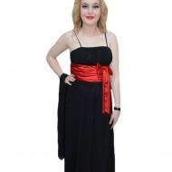 Rochie lunga de gala, model simplu, clasic, neagra cu detaliu rosu