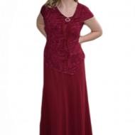 Rochie lunga de seara cu aspect de costum de nuanta marsala