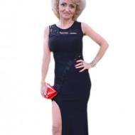 Rochie lunga de seara, neagra, cu aplicatii de tul transparent