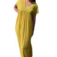 Rochie lunga, vaporoasa Flavia cu decolteu in V,nuanta de galben
