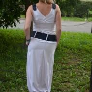 Rochie maxi, feminina culoare alb-bleumarin