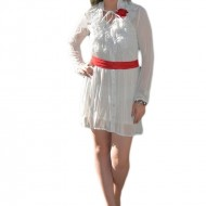 Rochie moderna, tinereasca, tip camasa, de culoare alb-rosu