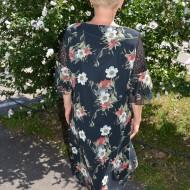 Rochie rafinata ,croi lejer cu imprimeu floral bleumarin