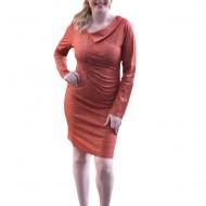 Rochie rafinata cu fir auriu in tesatura, de nuanta portocalie