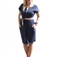 Rochie rafinata de vara, model de buline albe pe fond bleumarin