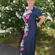 Rochie rafinata de zi cu buzunare, bleumarin cu design colorat