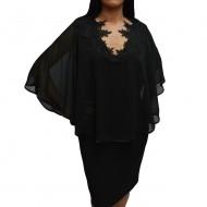 Rochie rafinata, eleganta, cu aspect de costum cu voal, neagra