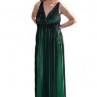 Rochie rafinata lunga, pentru evenimente, pe verde cu tul negru