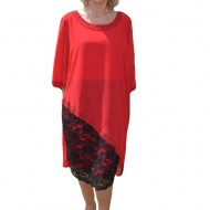 Rochie rosie cu aplicatii de dantela si strasuri fine, negre
