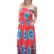 Rochie rosie trendy de vara, model lung cu insertii de elastic