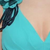 Rochie scurta de seara, de culoare negru cu turcoaz, din voal