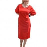 Rochie simpla de dama, de culoare rosie, cu decor auriu in fata