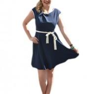 Rochie tinereasca culoare albastru inchis cu detalii contrastante