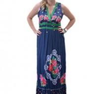 Rochie tinereasca de vara, albastra cu design floral, model lung