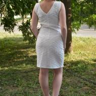 Rochie tinereasca din material cu imprimeu in tesatura, alba