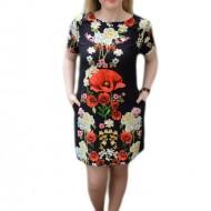Rochie trendy cu croi lejer, design floral, realist, pe fond negru