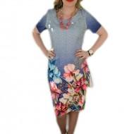 Rochie trendy cu flori multicolore, din tesatura subtire de vara