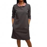 Rochie trendy de culoare gri cu design roz si maneca trei-sferturi