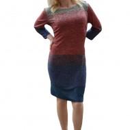 Rochie trendy de toamna-iarna cu design multicolor, masura mare