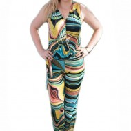 Salopeta feminina, cu imprimeu de dungi abstracte multicolor