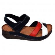 Sandale cu talpa joasa bleumarin-rosu