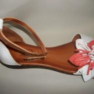 Sandale fara toc, cu floricica, colorate