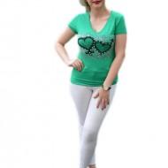 Tricou casual, de culoare verde, cu insertii de pietre colorate