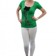 Tricou cu maneca scurta, verde cu insertie de strasuri si margele