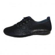 Adidas cu sireturi, nuanta de negru, perforatii moderne fine