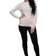 Bluza alba cu maneca lunga si mansete normale, material tricotat