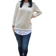 Bluza Ava casual-buusiness cu tricot din catifea ,nuanta de alb