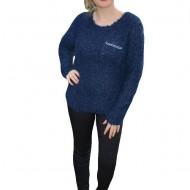 Bluza calduroasa, lejera de iarna, culoare bleumarin cu buzunar