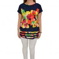 Bluza casual, cu imprimeu multicolor, pe fundal bleumarin