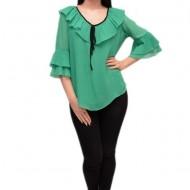 Bluza casual de primavara-vara, nuanta de verde cu detalii negre