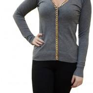 Bluza casual, gri, de marime universala, cu design auriu