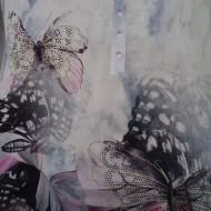 Bluza chic cu aspect asimetric si imprimeu deosebit multicolor