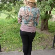 Bluza cu maneca lunga, croi lejer, de culoare turcoaz