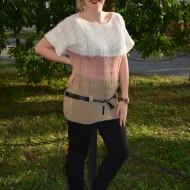 Bluza cu maneca scurta din tricot, design de dungi late, colorate