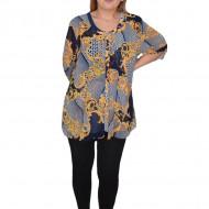 Bluza dama, casual, model abstract pe fundal bleumarin